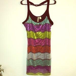 Sequin stripe stretch dress XL